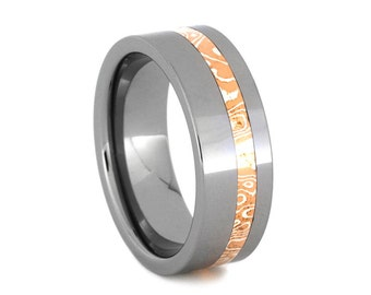 Tungsten Wedding Band For Men or Women, Copper And Silver Mokume Gane Ring, Unique Wedding Band