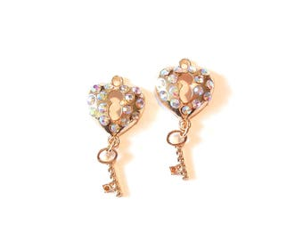 Pair of Heart Shaped Lock and Key Charms Gold-tone AB Rhinestones