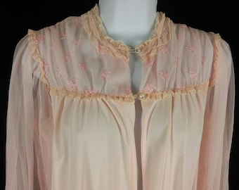 Vtg pink chiffon and nylon tricot with rhinestone buttons robe peignoir size medium M chest 40in.