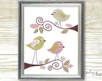 Nursery prints - baby nursery art - Baby Girl Room Nursery Decor - Birds Pink Green - Sweet Day print - by GalerieAnais