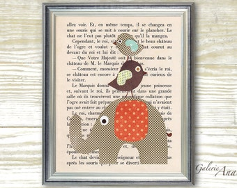 French Fairy Tale -  - Chlidren wall art - baby nursery decor - nursery print - kids art - kids room decor Elephant Bird