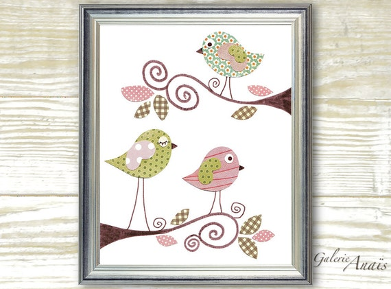 Nursery prints - baby nursery art - Baby Girl Room Nursery Decor - Birds Pink Green - Sweet Day print - by GalerieAnais