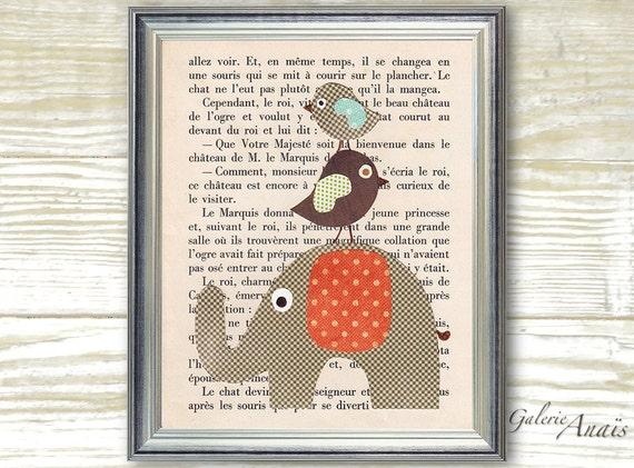 French Fairy Tale -  - Chlidren wall art - baby nursery decor - nursery print - kids art - kids room decor Elephant Bird