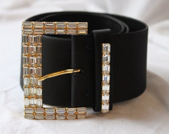 Square Rhinestone Belt by Abbe Creations in Black and Gold