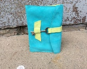 Refillable  bright and playful suede leather journal sketchbook with skeleton key