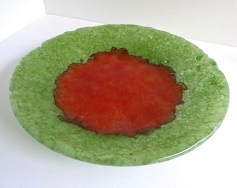Fused Glass Shallow Dish made from Reclaimed Tempered Window Glass by BPRDesigns
