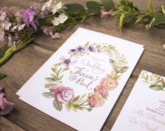 Watercolour Floral Wreath Wedding Invitations and Stationery - DEPOSIT - Floral Wedding Stationery - Artwork by Alicia's Infinity