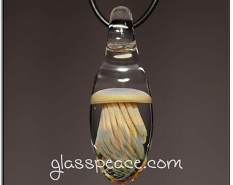 Glass Jellyfish Pendant boro lampwork jewelry focal - Glass Peace glass jewelry (6591)