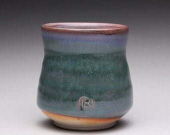 handmade porcelain cup, ceramic teacup, pottery tumbler, yunomi with white shino and green ash glazes