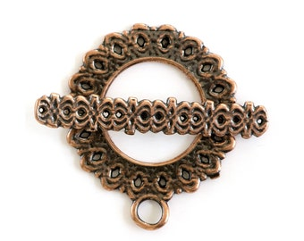 Diamond Holes Copper Plated Toggle Clasp 43503 (1) Copper Jewelry Clasp, Round Toggle Clasp, Necklace Toggle Clasp, Bracelet Toggle Clasp