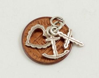 Faith Hope Charity Charm Pendant, Sterling Silver, Cross Anchor Heart Charm, Faith Hope Love Charm, Vintage Charm
