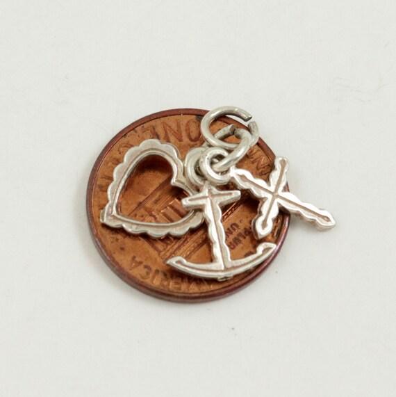 Vintage Faith Hope Charity Charm Pendant, Sterling Silver, Cross Anchor Heart