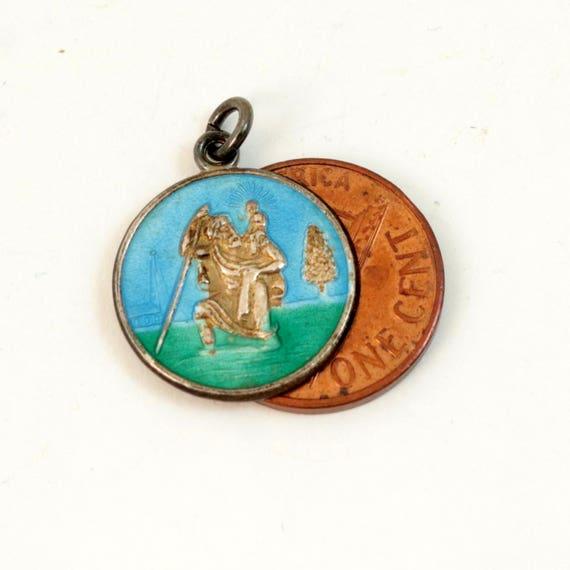 Vintage Enamel St Christopher Charm Medal Pendant, Sterling Silver