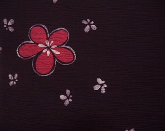 Vintage haori S326,  black, plum silk