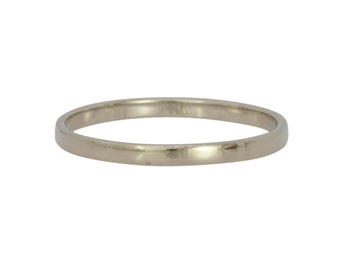 14K Palladium White Gold 2mm Ring, Womens Wedding Band, Skinny Gold Ring, Sea Babe Jewelry