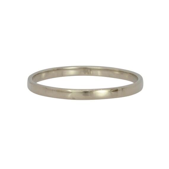 14K Palladium White Gold 2mm Ring Womens Wedding Band Skinny