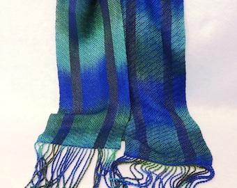 Handwoven Rayon and Tencel Scarf, Rayon Scarf, Tencel Scarf, Woven Scarf, Handwoven Scarf, Hand-dyed Scarf (#17-02 - royal blue)
