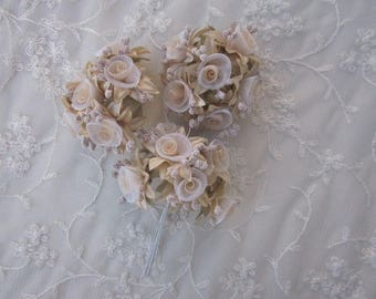18 pc Rosette Rose Wired Flowers TAN Organza Satin Ribbon w Pips Bridal Bouquet Hair Bow Accessory