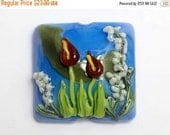 ON SALE 40% OFF New! Handmade Glass Lampwork Bead - 11837804 Red Calla Lily Lake Pillow Focal Bead