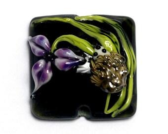 NEW! Handmade Glass Lampwork Bead - 11839104 Iris and Critter Pillow Focal Bead