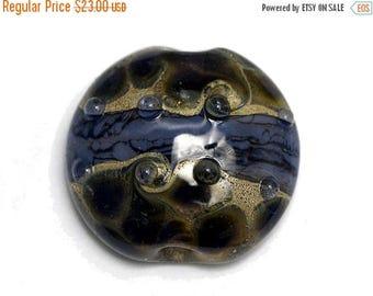 ON SALE 40% OFF Black w/Purple Silver Foil Lentil Focal Bead - Handmade Glass Lampwork Bead 11815302