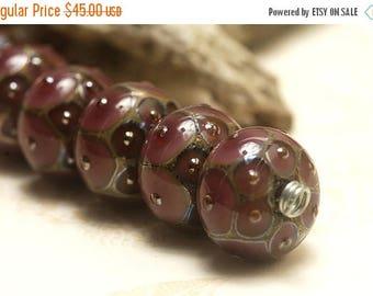 ON SALE 35% OFF Seven Plum w/Metal Dots Rondelle Beads - Handmade Glass Lampwork Bead Set 10601701