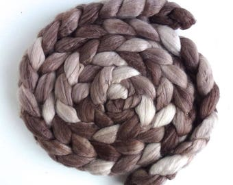 Merino/ Superwash Merino/ Silk Roving (Top) - Handpainted Spinning or Felting Fiber, Fawn Brown
