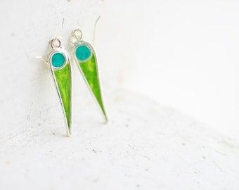 Tropical Resort Earrings, Blue Green Jewelry, Silver Dangle Earrings