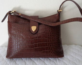 Elaine Trump thick genuine  crock textured leather Med  size hobo satchel purse  everyday bag in rich  brown vintage 80s MINT condition