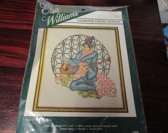Elsa Williams Counted Cross Stitch Kit Geisha Musician 02029 Complete and Ready to Stitch