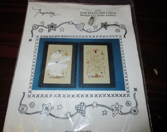 Baby Announcement Kit God Bless this Child Imaginating 1377 with Charm Counted Cross Stitch Kit Diane Arthurs