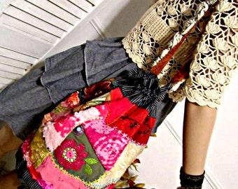 Cotton Bucket Bag, Drawstring Bag, Bohemian Gypsy Bag, Handcrafted Fabric Bucket Bag, One-of-a-Kind Bag, Large Shoulder Bag