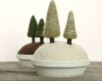 Snowy Trees Sculpture, Miniature Snowy Scene, Winter Trees, Winter Scene, Snowy Pines, Felted Miniature Pine Trees Fiber Art Made to Order