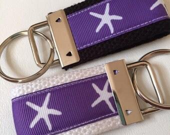 Starfish Ribbon Fob, Purple Starfish Keyfob, Beach Wristlet, Starfish Bag Tag,  Nautical Keyfob, Stocking Stuffer, Beach Bag Tag, Teen Gift
