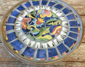 Vintage Broken China Mosaic Pedestal Cake Stand - Blue and Floral