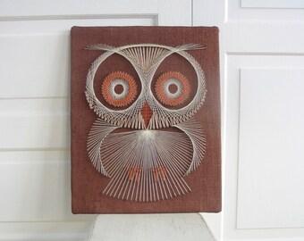 Vintage String Art Owl, String Art Bird, Vintage Bird Art, Sixties Seventies Wall Art, Vintage Owl