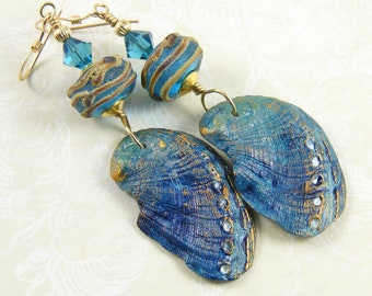 Organic Abalone Shell Earrings, Handcrafted Polymer Clay, Unique Wearable Art, Deep Ocean Blue & Gold Jewellery, OOAK (One of a Kind)