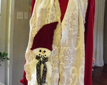 Snowman and Lace Scarf/ Cream Vintage Cotton Lace/ Cotton Hobnail Hand Painted Snowman/ Sheerfab Holiday