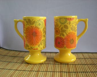 Boho Mugs-Orange &Yellow Flower Coffee/Tea Cup-1970s Pedestal Mug-Flower Power Decor