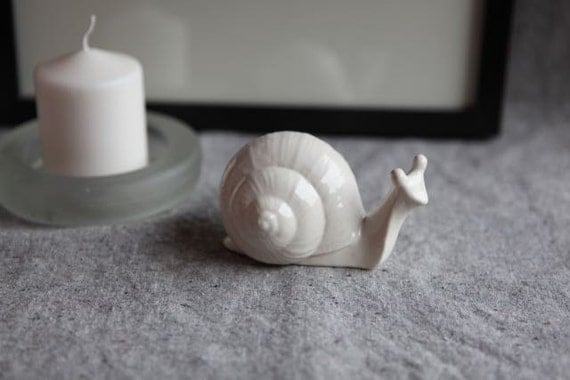 Garden Snail Sculpture in Stoneware with White Glaze (small)