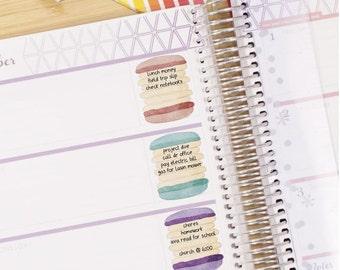 Watercolor Sweet Macarons Stickers - Weekly Planner - Erin Condren - Printable