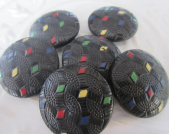Vintage Buttons - Lot of 6 black Mid Century Modern,  novelty, 50's Retro, painted wood (jan 65-17)