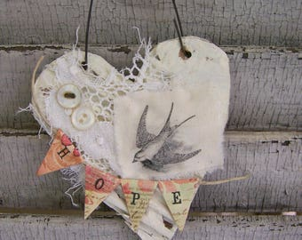 Handmade Bird Ornament Vintage Spring Decoration Bird Decoration Bird Ornament Vintage Style Shabby White  Ornament Cottage Style Decor