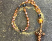 Lenten Sale Faceted Amber Glass Anglican Rosary Protestant Prayer Beads originally 32 dollars onw 16 back to school sale