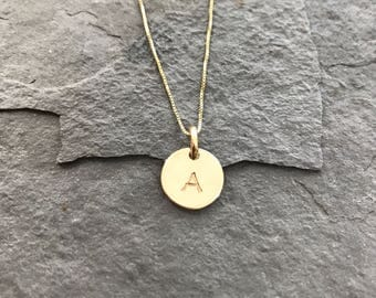 14K Solid Gold Letter Necklace - Hand stamped & Personalized for You