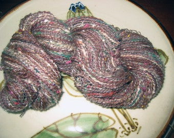 Handspun Art Yarn, 340 Yds, Light Sport Thick & Thin, 2-ply, Alpaca Silk Jacob Wool Noils, Red-brown alpaca Natural, Multi-color Hand Dyed
