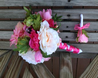 Ready to Ship Bridal Bride Wedding Day Bouquet matching Grooms Boutonniere set Blush Pinks Peach Hot Pink roses silk flowers