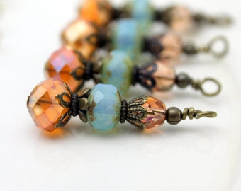 Antiqued Orange AB Rondelle Crystal with Opaque Blue Picasso Firepolished Czech and Peach Czech Bead Dangle Drop Set