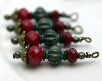 Red Rondelle Faceted Crystal and Brass Patina Melon Beads Bead Dangle, Earring Dangle Charm Drop Set