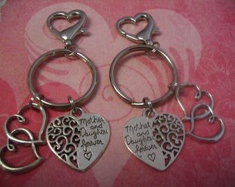 Mother Daughter Friends Double Heart Key Chains  Purse Charms Jewelry Gift